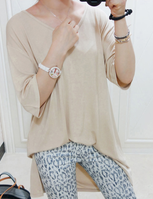 [Miamasvin] Long Asymmetric Hem T-Shirt