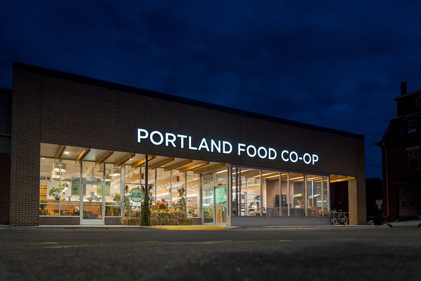 Portland, Maine USA September 2015 the exterior of the Portland Food Co-Op store at night at 290 Congress Street. Photo by Corey Templeton.