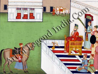 Raja Balwant Singh inspecting the points of a horse