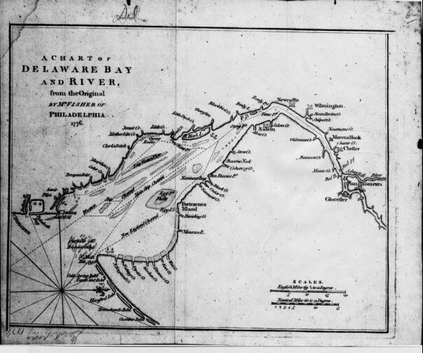 Delaware Colonial Map of Delaware Bay and River 1776.