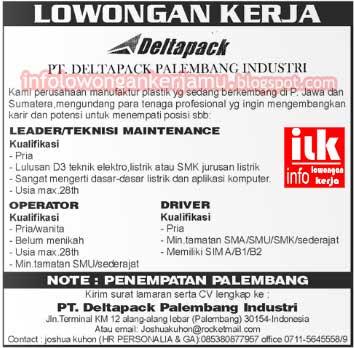 Info lowongan kerja PT Deltapack Palembang di atas bersumber dari ...