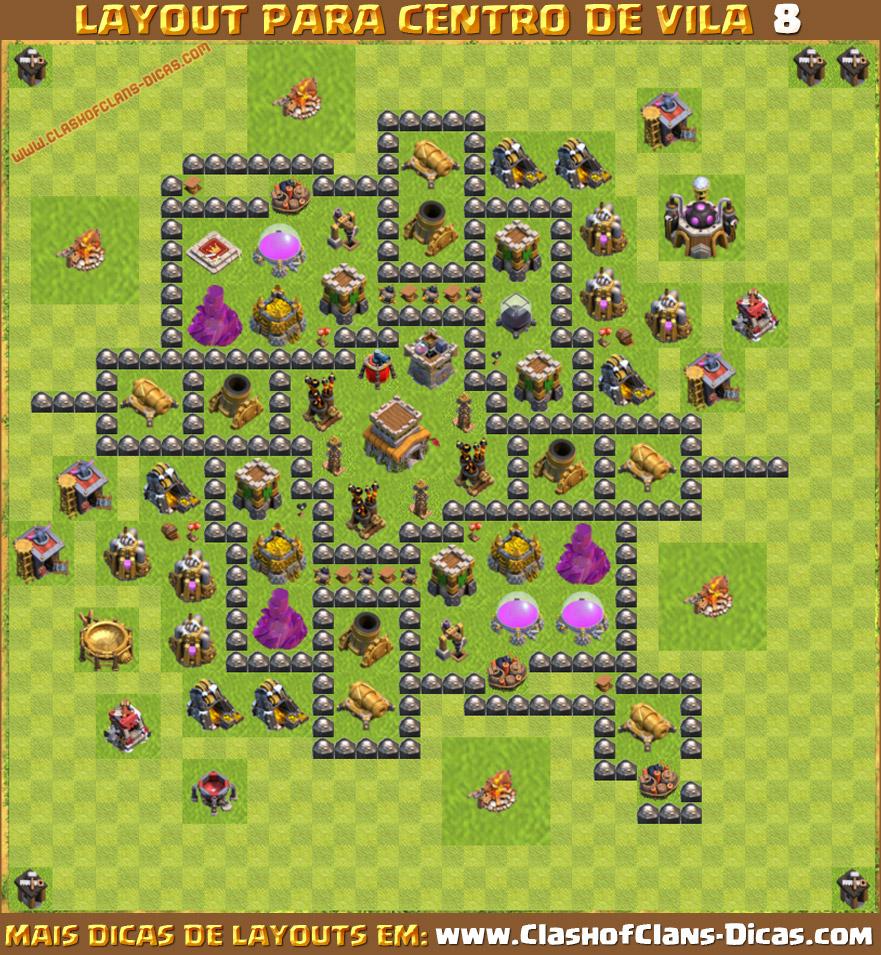 Layout para centro de vila 8 em clash of clans th8