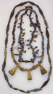 Bronze necklaces excavated near Djenne, Mali. The beads may date to the late Middle Ages (C. A.D. 1200), when western Sudanese kingdoms flourished and cities such as Djenne and Timbuktu were important centers of learning and trade. It is not. Clear whether the beads were imported or made in Djenne.