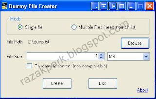 display dummy file creator