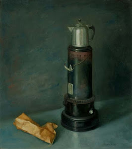 "1963 oil on canvas ""Kerosene Stove and Coffee Pot"" by Alvin Ross"