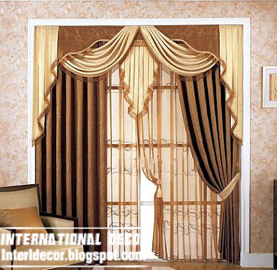 best curtain models 2015, unique draperies model, brown door curtain