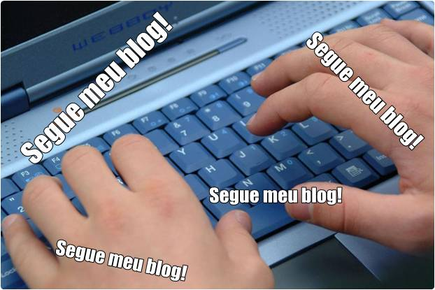 Digitando segue meu blog