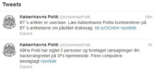Politiets twitter profil