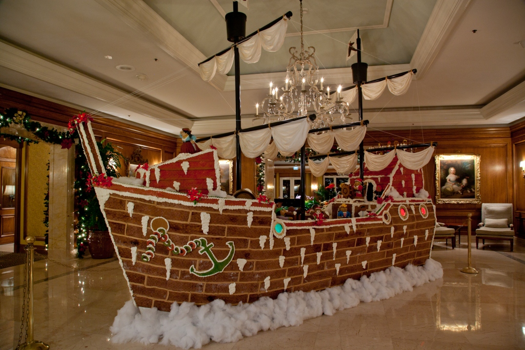 The World's Largest Gingerbread Pirate Ship located at the Ritz-Carlton, Amelia Island