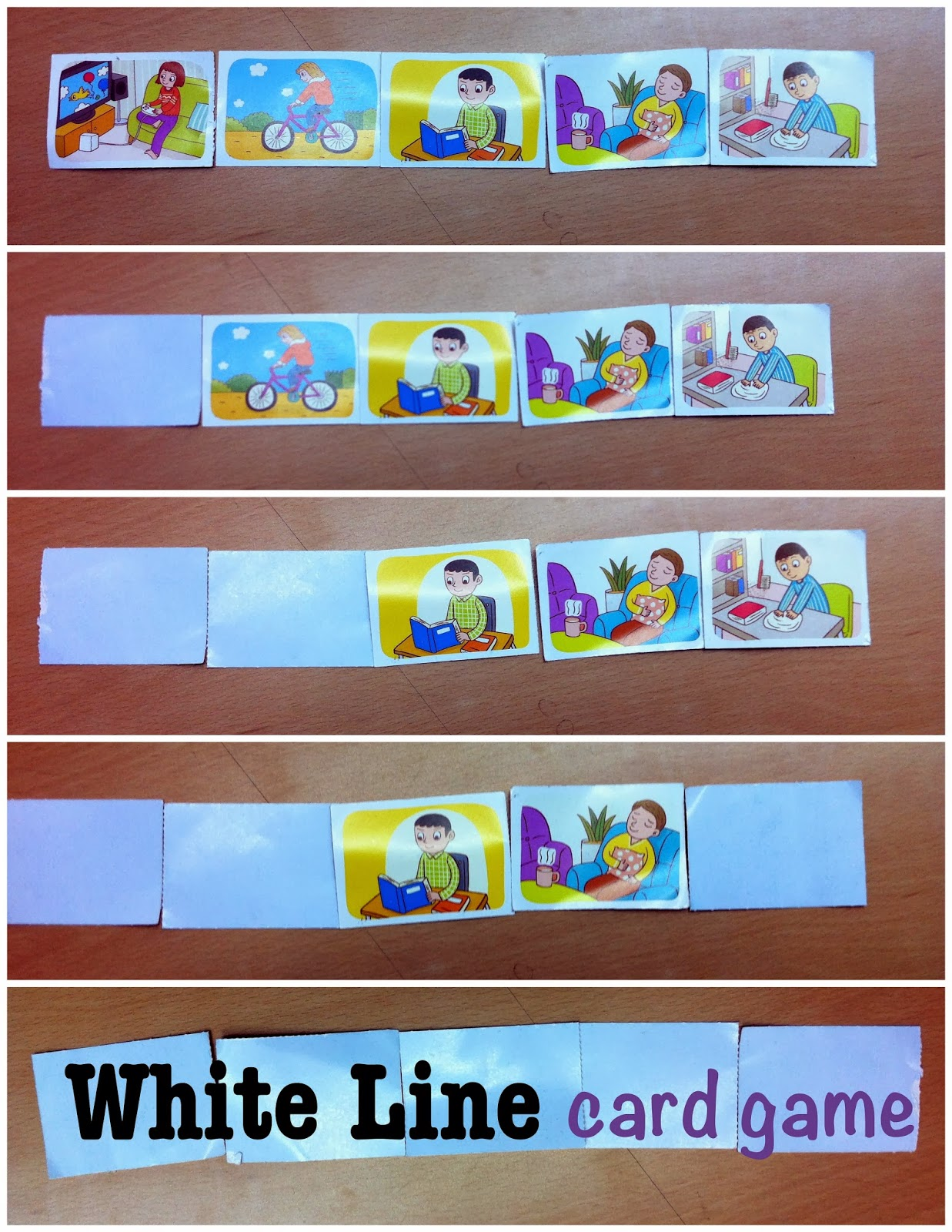 ESL elementary white line card game