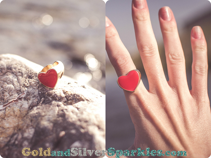 bershka heart shaped golden ring