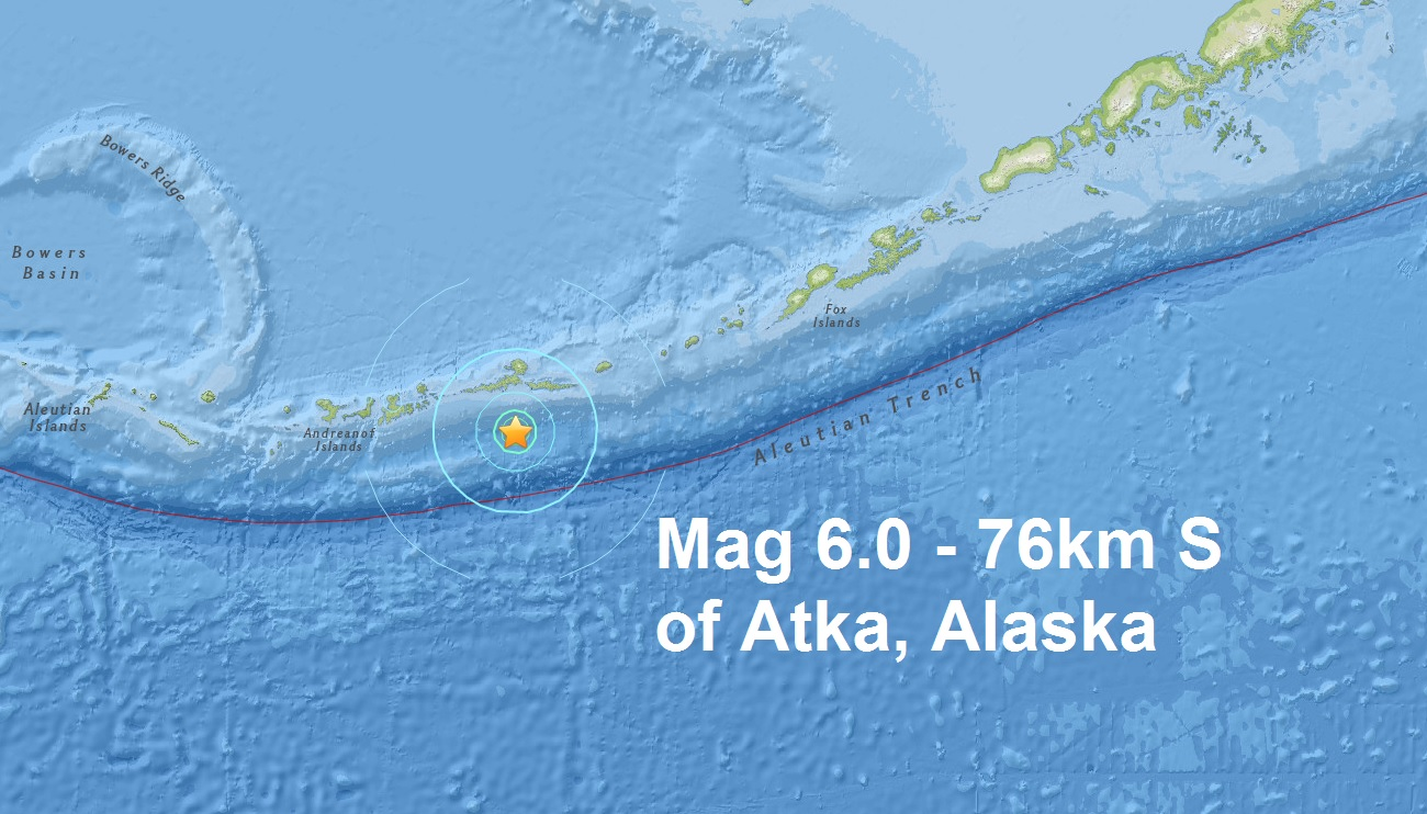 A mag 6.0 - 76km S of Atka, Alaska is the third major quake of February