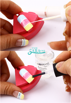 cute stripe nail art, easy-to-follow!