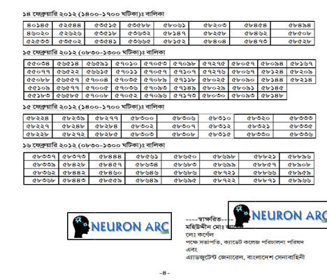 WmlCZ Bangladesh Cadet college written examination Result 2012
