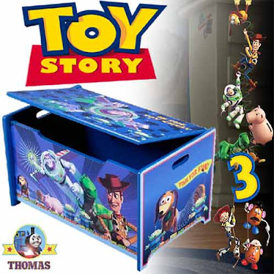 Tidy organized bedroom toy storage boxes ideas Walt Disney Toy Story wooden toy box furniture chests