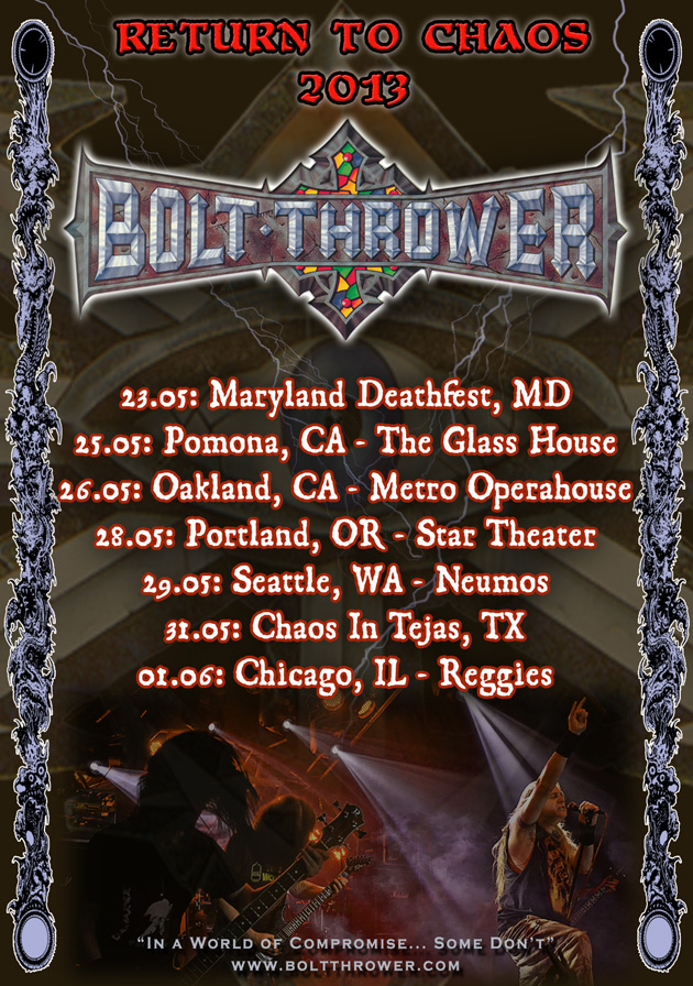 Bolt Thrower 2013 US Tour 'Return to Chaos'