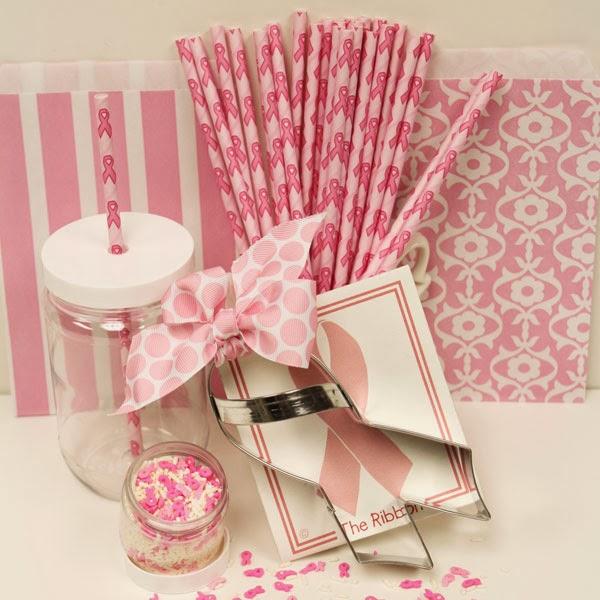 Pink Ribbon Paper Straws