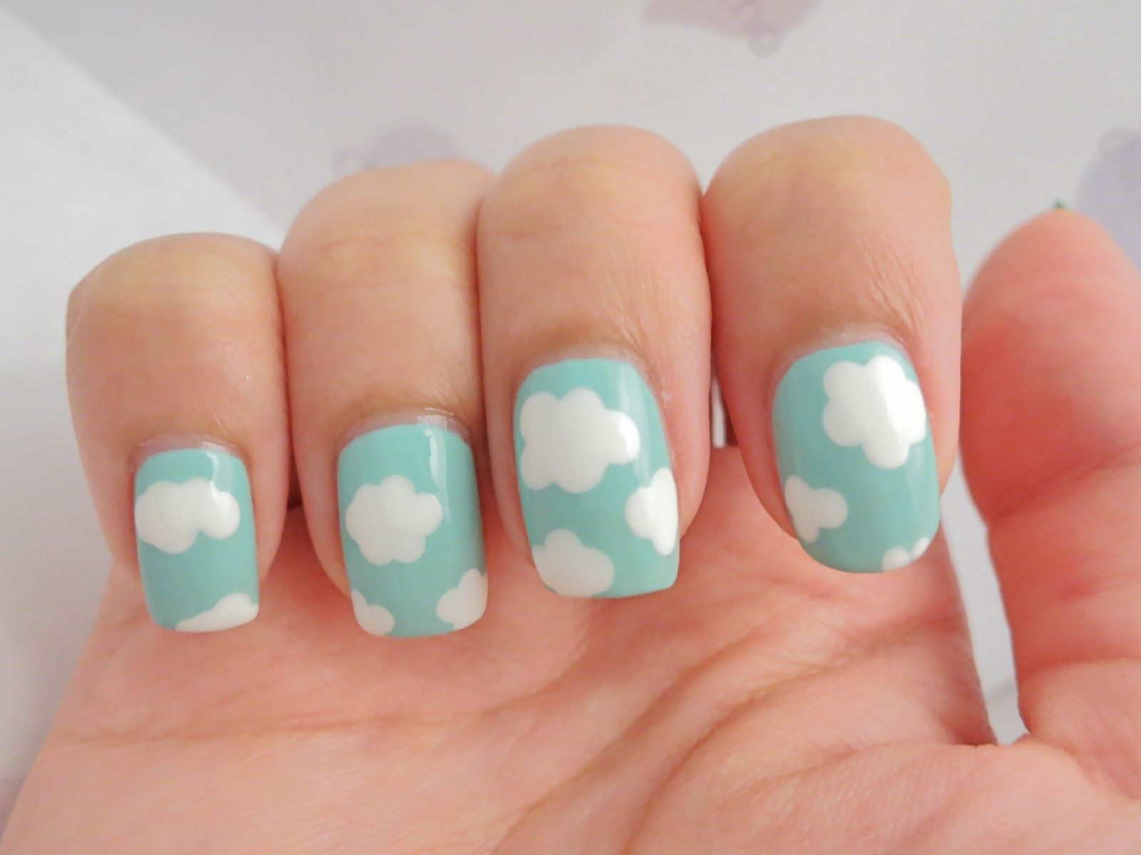 White Clouds Blue Sky Nail Art Chichicho