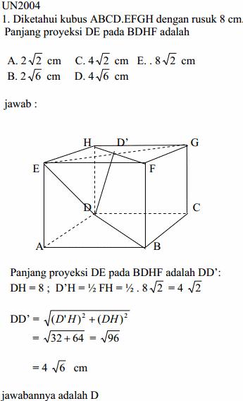 Cara Mengerjakan Soal Matematika Panjang Proyeksi Garis DE pada Bidang Diagonal BDHF di dalam Kubus Materi DImensi Tiga