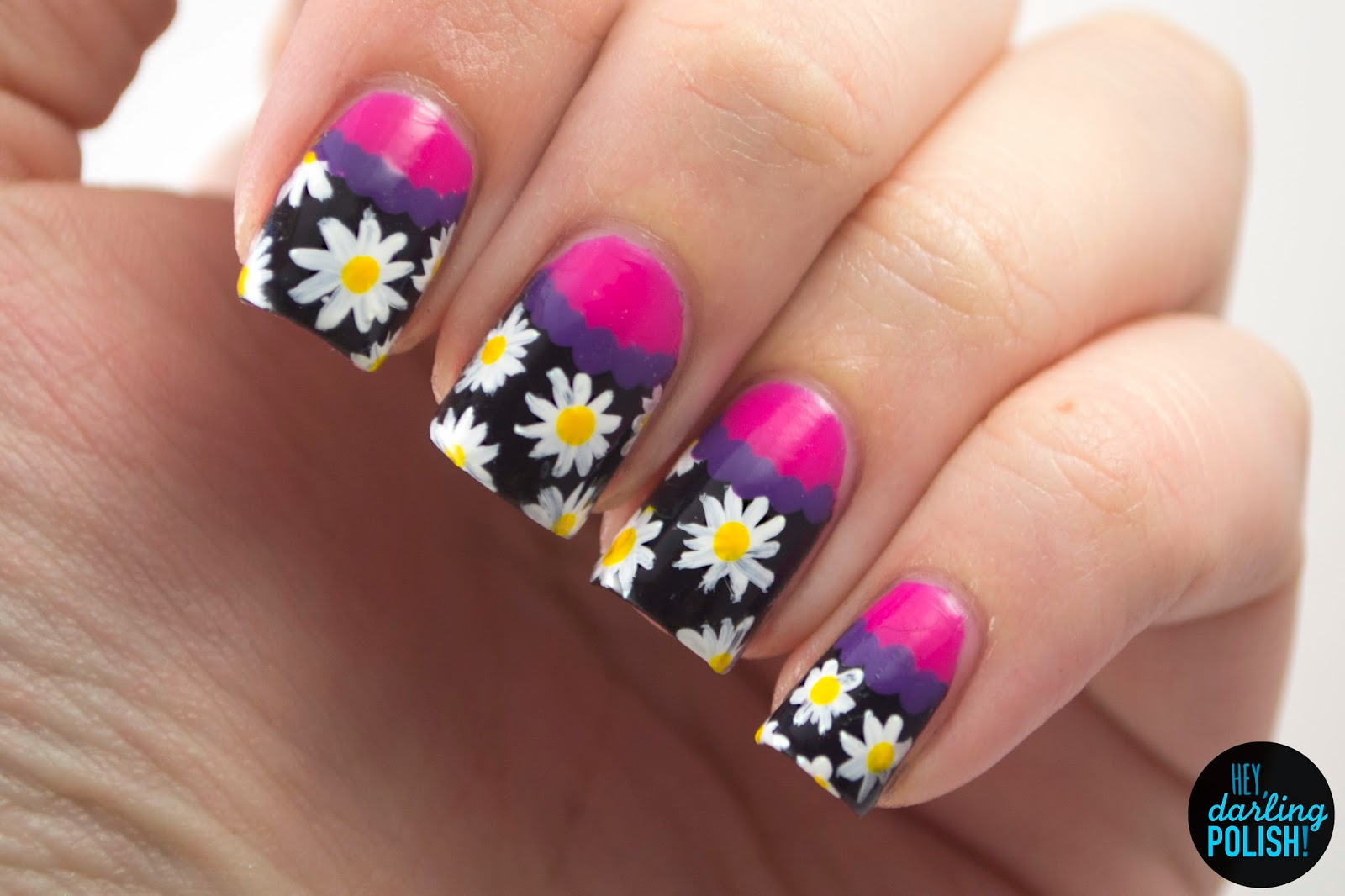 nails, nail art, nail polish, polish, theme buffet, daisies, flowers, floral, pink, purple, black, white, yellow, hey darling polish