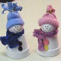 Clay pot snowman couple