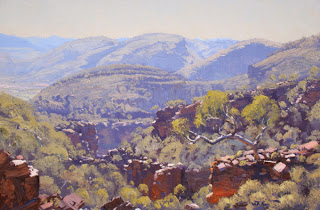 Warwick Fuller painting - Rugged Gulley Bathed in Light