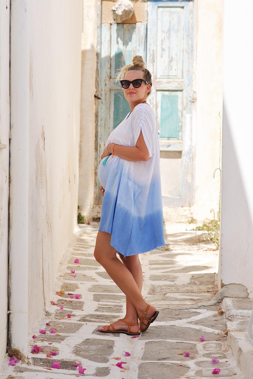 une semaine en frère, robe bleu dye asso, dye robe, look femme enceinte, pregnancy outfit