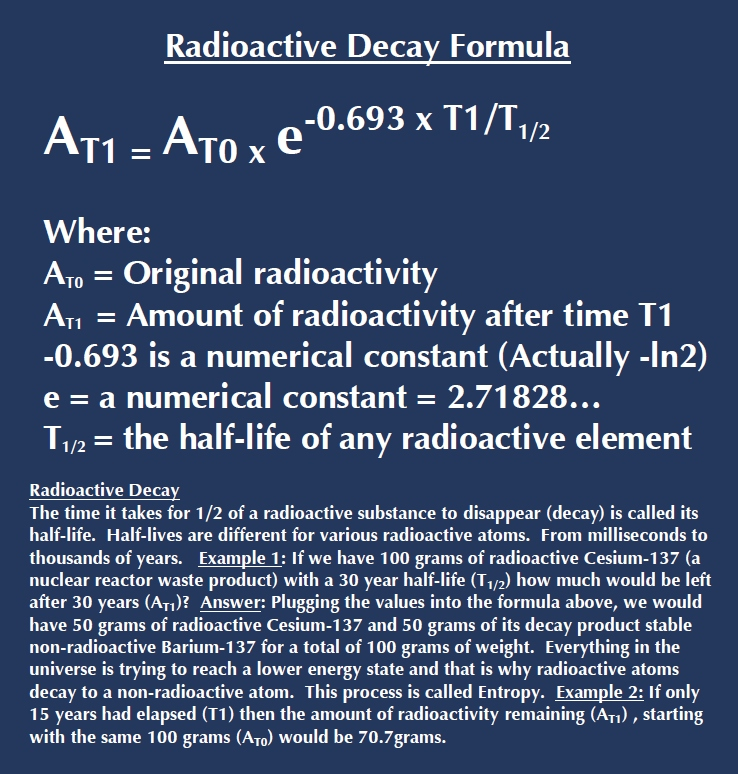 Radiometric dating formula