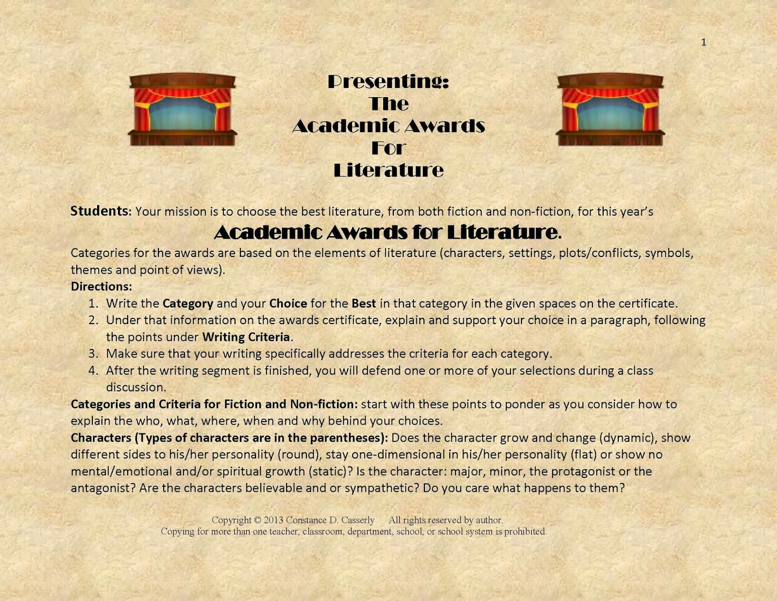 Presenting the Academic Awards for Literature