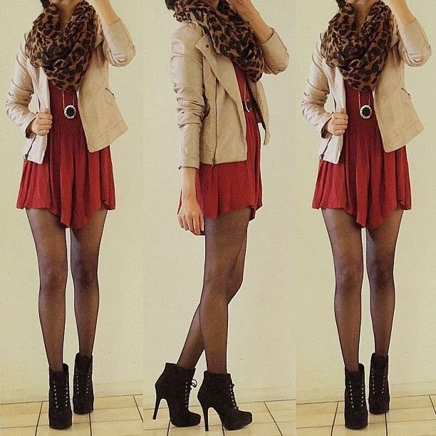 Cheetah skin scarf, short jacket, red blouse, leggings and high heel for fall