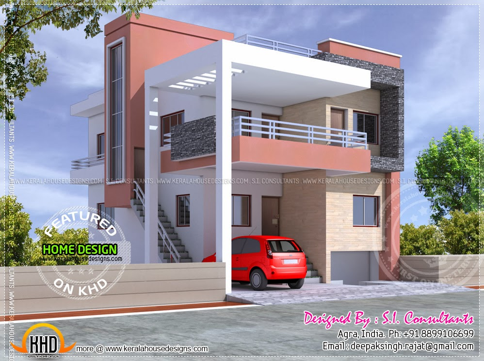 Floor plan and elevation of modern indian house design for Indian house exterior design pictures