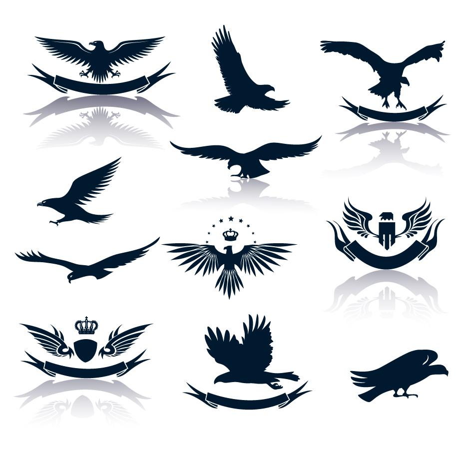 羽ばたく鷲とリボン飾りのシルエット flying silhouette wing eagle crown ribbon イラスト素材