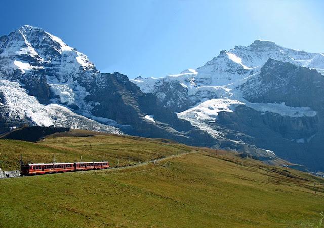 alpine train at the swiss alps