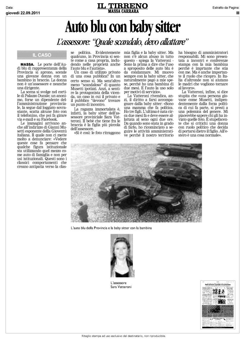 a r pa raggiungimento parit agrave settembre  in merito all articolo uscito oggi 22 09 2011 su il tirreno auto blu con baby sitter come donna in primis e come donna impegnata nelle politiche di genere