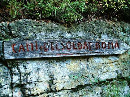 Indicador a l'inici del Camí del Soldat Romà