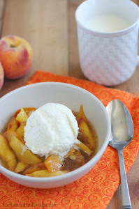 Slow Cooker Scalloped Peaches from Taste and Tell featured on SlowCookerFromScratch.com