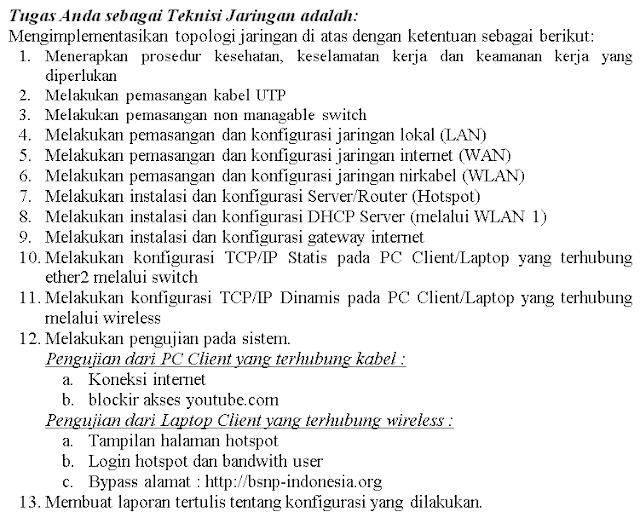 Soal Ujian Paket Kejuruan TKJ Paket 3 SMK Wifi Routerboard Mikrotik Plus Bandwidth Limiter