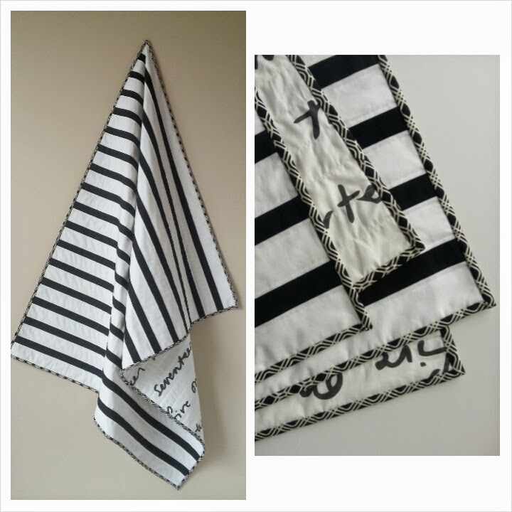 Black and White Striped Modern Baby Quilt