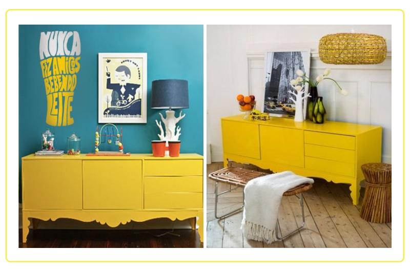 Aparador Com Gavetas E Portas ~ Decoraç u00e3o de Interiores Aparador Amarelo