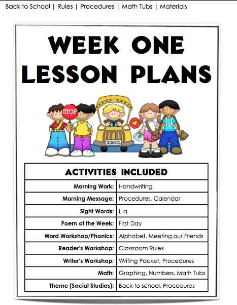 First Week Lesson Plans and Materials