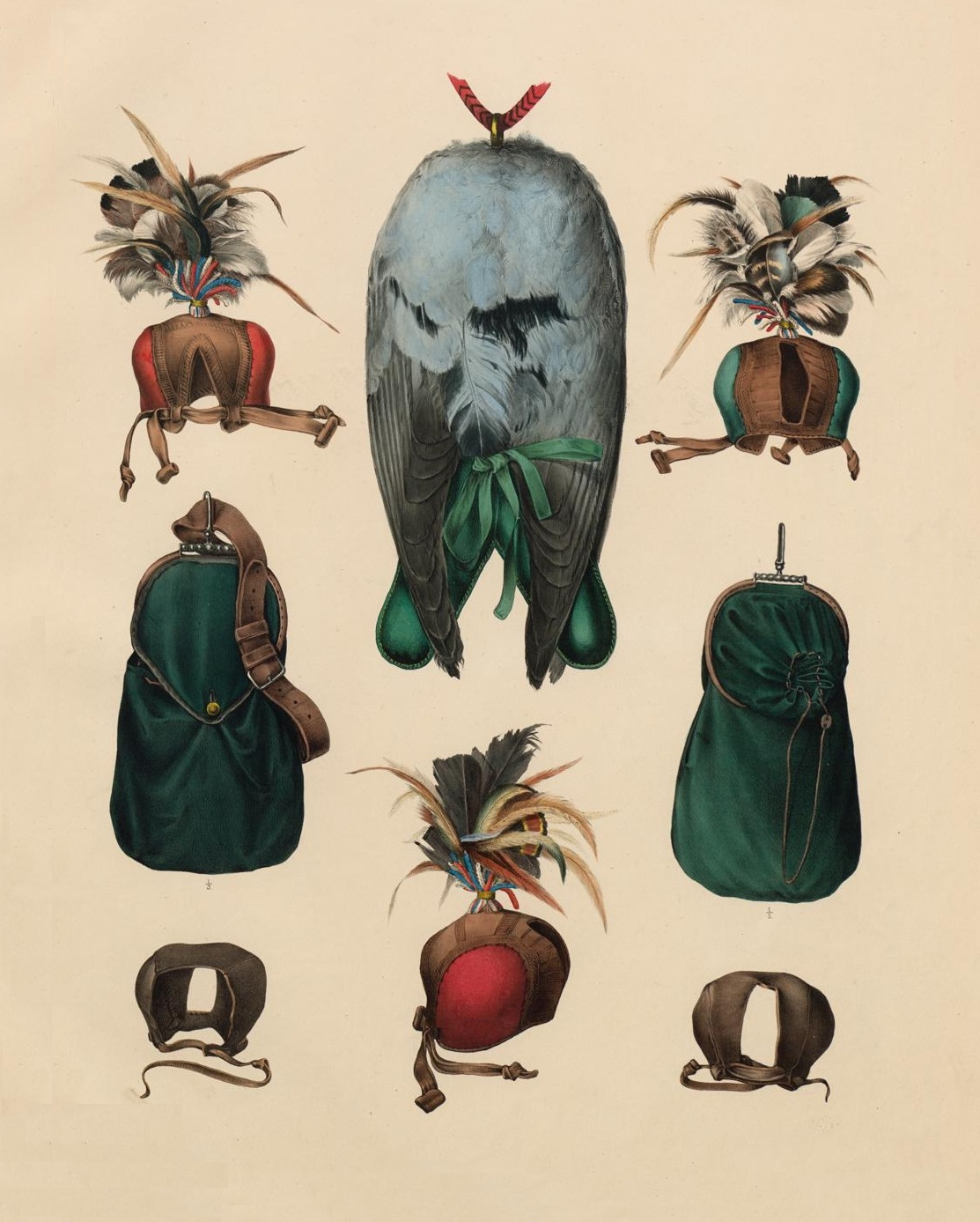 raptor hoods - 1853 lithograph