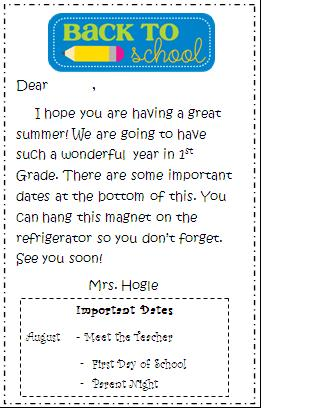 Second Grade Teacher Welcome Letters