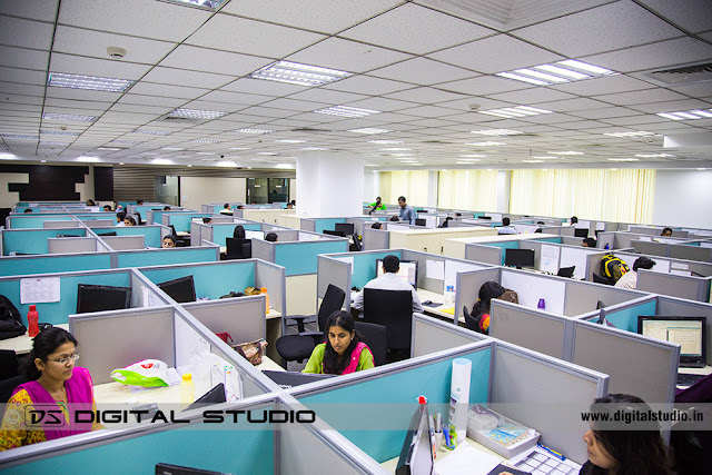 Wide angle corporate office photograph