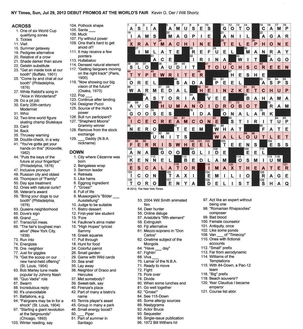 The new york times crossword in gothic july 2012 072912 the fare at world fairs malvernweather Gallery