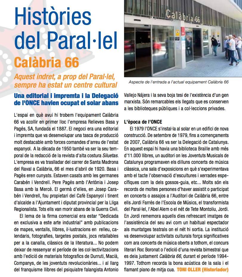 Calàbria 66 a Paral·lel Oh!