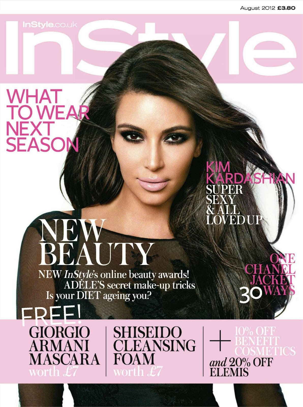 kim kardashian covers instyle uk august 2012 just fab celebs. Black Bedroom Furniture Sets. Home Design Ideas