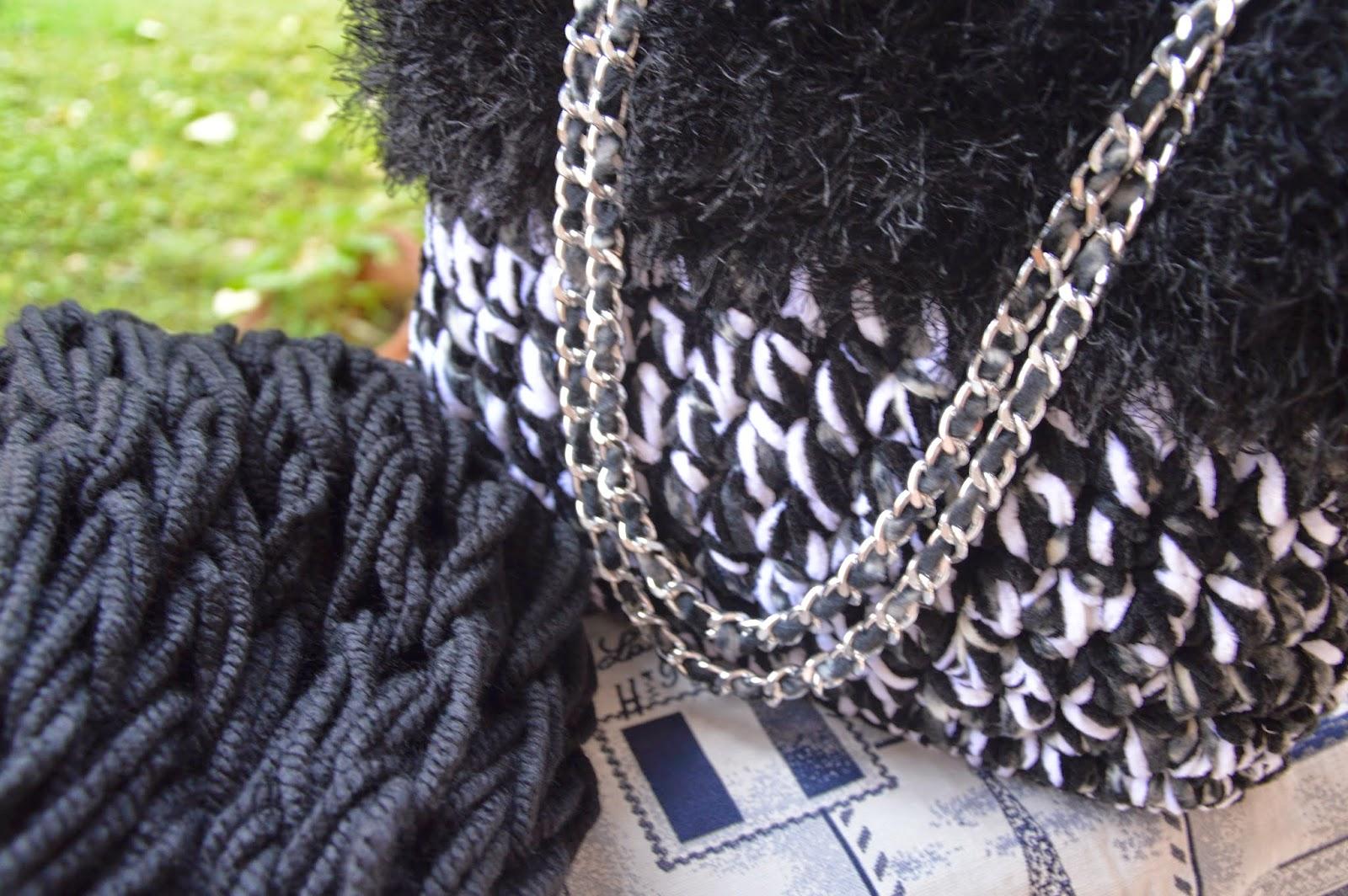 Borsa pile melange nero/bianco con ciniglia nera e bianca con bordo effetto pelliccia