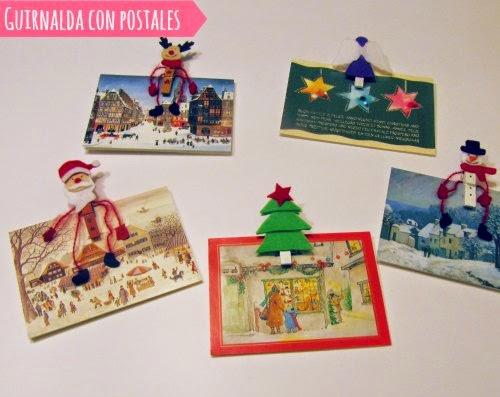 Postales de navidad con pinzas de la ropa decoradas