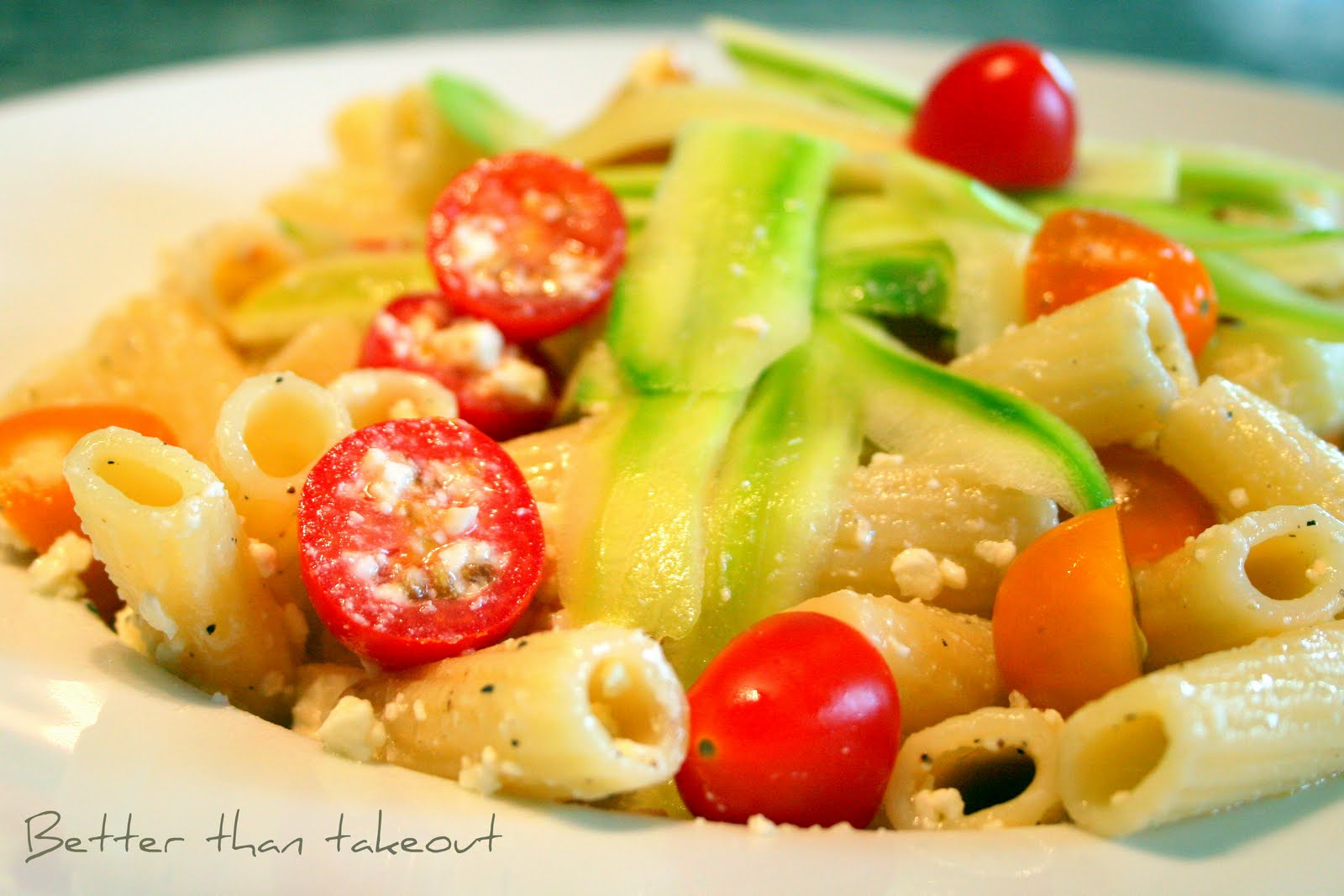 pasta salad tomatoes zucchini and feta recipe dishmaps tomatoes pasta ...