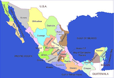 Map of Mexico States Regional